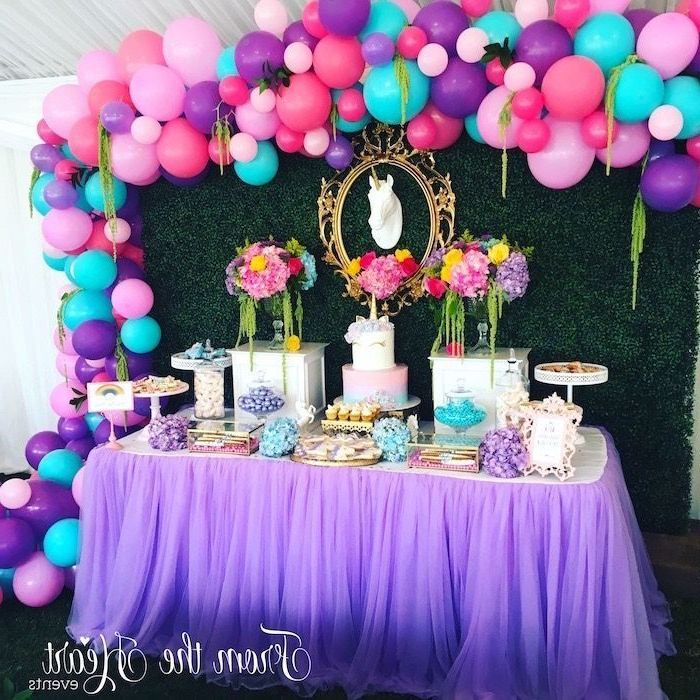 purple pink and blue balloons, unicorn theme, summer party themes, colourful flower bouquets