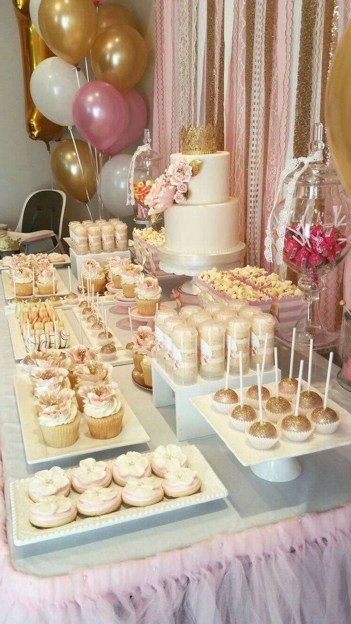 summer party themes, dessert table, two tier cake, cake pops, cupcakes and cookies, white plates and cake stands