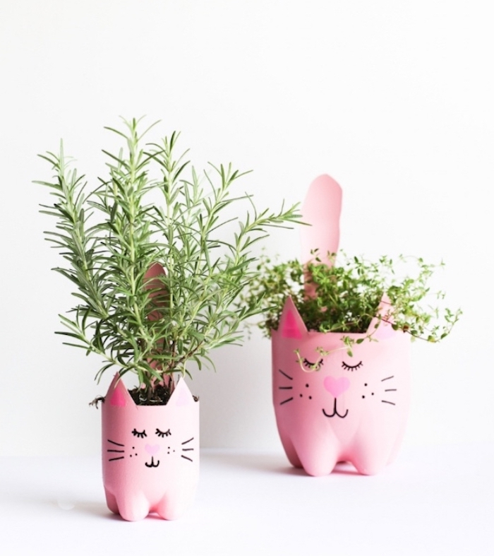 plastic pots, in the shape of cats, diy crafts for teens, potted herbs