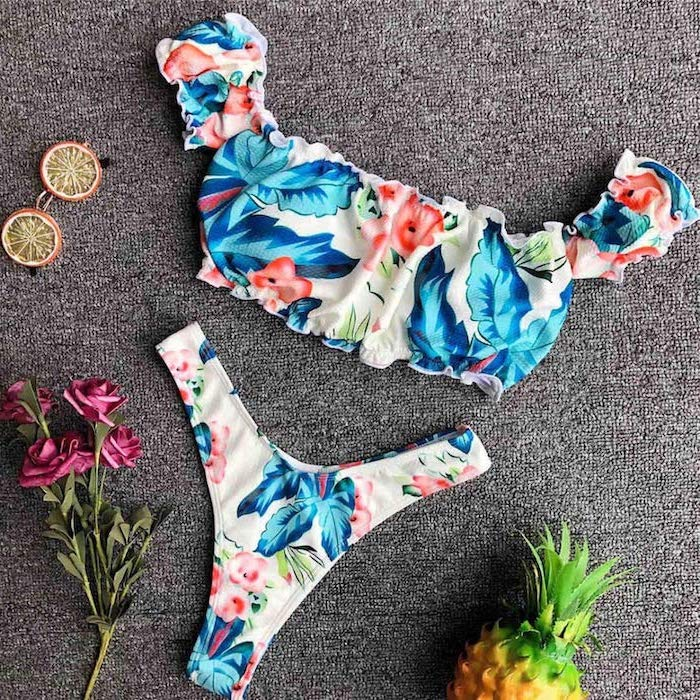 off the shoulder top, high waisted thong, two piece, floral print, one piece bathing suits for girls