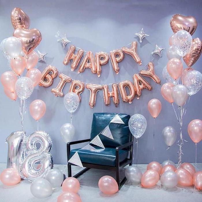 happy birthday, rose gold balloons, summer party themes, blue leather chair, pink and white balloons