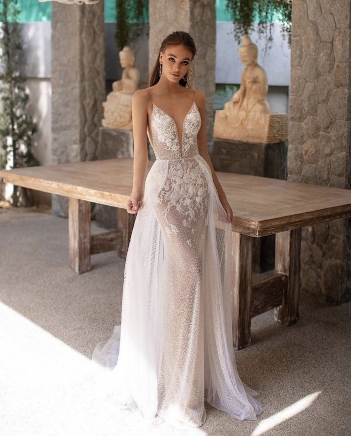 plunging v neckline, lace and tulle dress, maxi dress for beach wedding, brown straight hair
