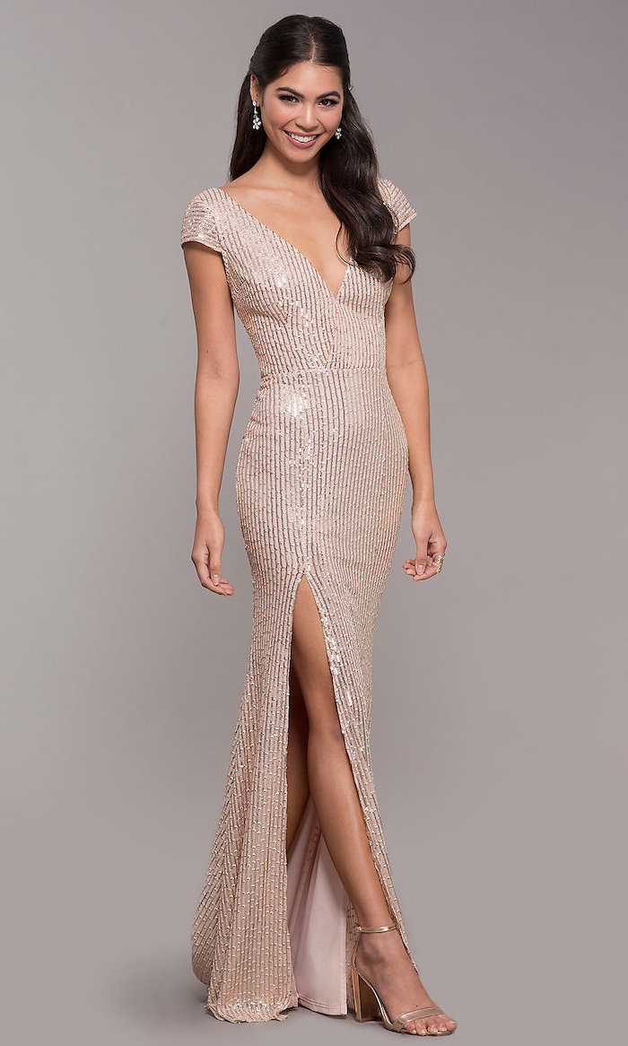 plunging v neckline, long rose gold dress, with slit, bridesmaid dresses, gold sandals, long black wavy hair