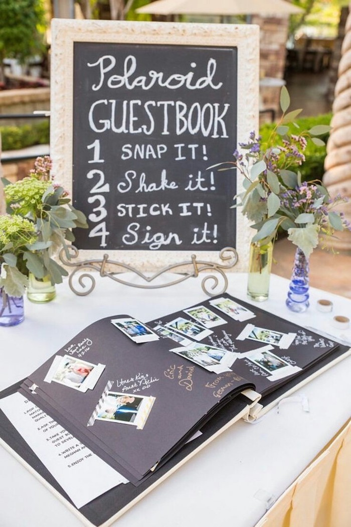 polaroid guestbook, snap it, shake it, stick it, sign it, sweet 16 themes, large photo album