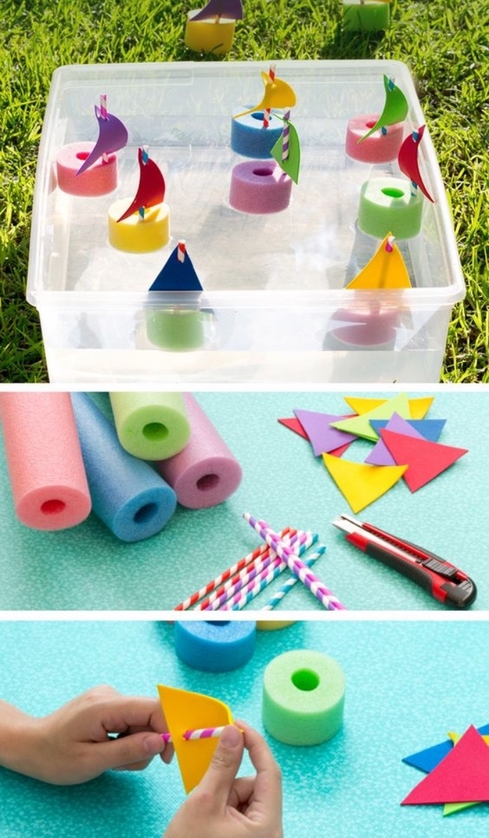 small boats, made of pool noodles, paper straws, colourful felt, diy crafts for teens