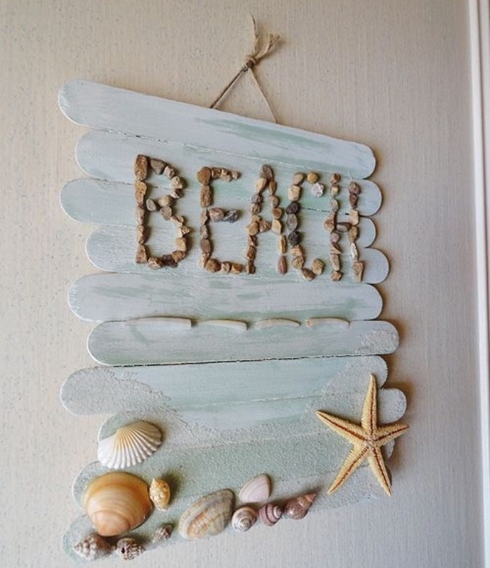blue wooden popsicle sticks, hanging wall decoration, diy projects for teens, seashells and rocks