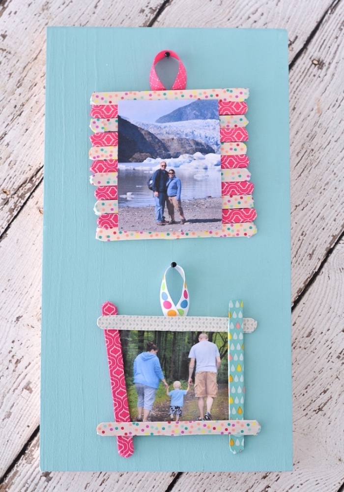 blue wooden board, popsicle sticks, photo frames, diy projects for teens, wooden background