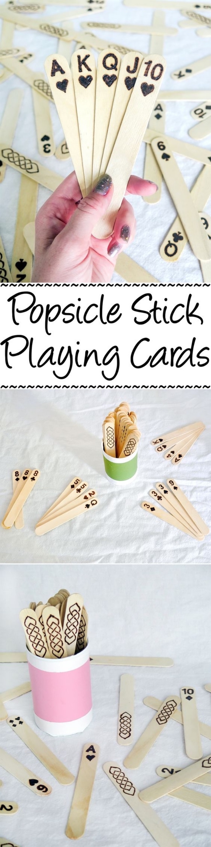 popsicle stick playing cards, step by step tutorial, diy projects for teens, green and pink, paper cups