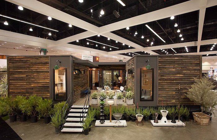 screened in porch furniture, modular house, wooden house, white metal garden furniture, potted plants