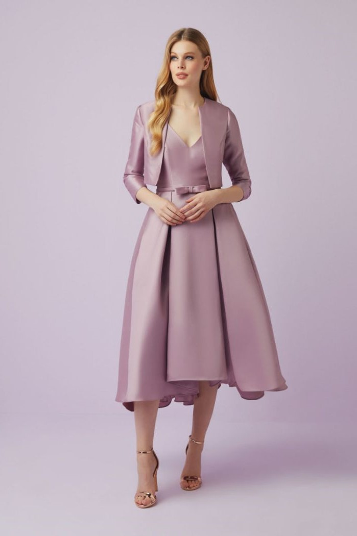 purple satin dress, below the knee, purple jacket, gold mother of the bride dresses, blonde wavy hair