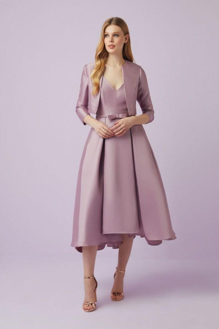 purple satin dress, below the knee, purple jacket, gold mother of the bride dresses, blonde wavy hair