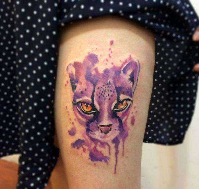 black dress, purple cat, watercolor tattoo fade, thigh tattoo