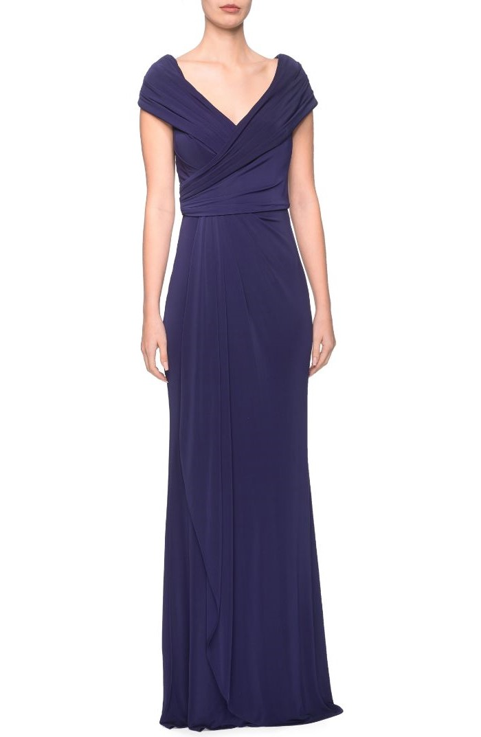 v neckline, long blue dress, mother of the bride outfits, white background