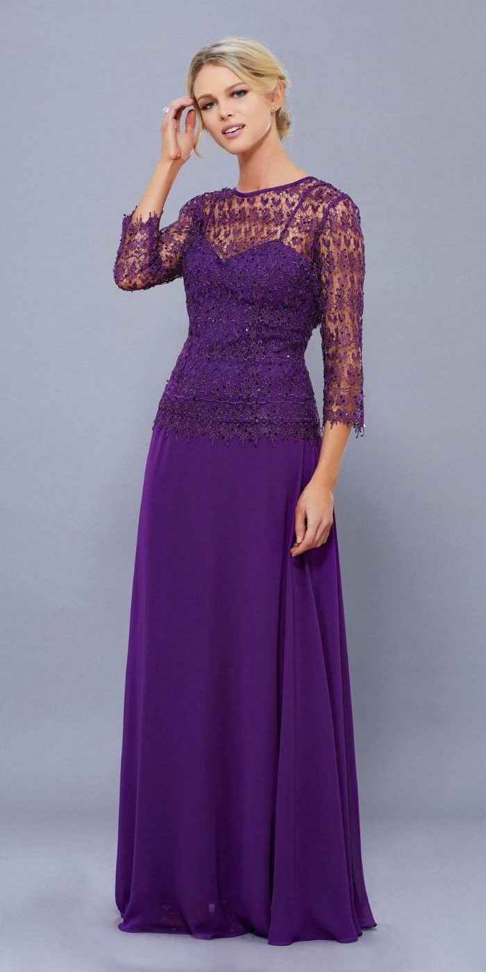 purple dress, lace top, chiffon skirt, mother of the bride outfits, blonde hair, in a low ponytail