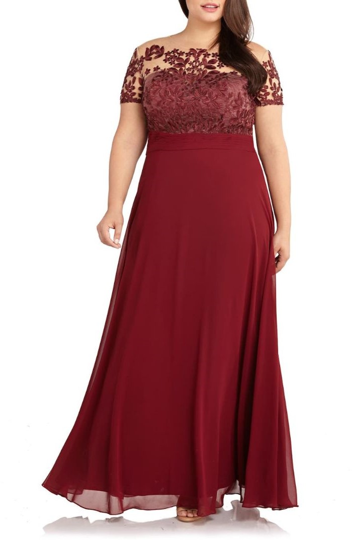 mother of the bride outfits, lace top, chiffon skirt, red dress, brown wavy hair, white background