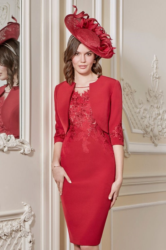 red lace and satin dress, satin jacket, large hat, gold mother of the bride dresses, white background