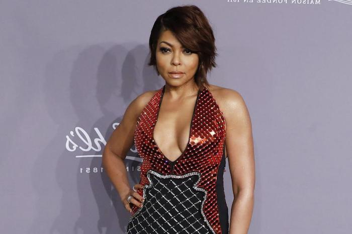 taraji p henson, wearing a red and black, sequinned dress, bob haircuts for black women, purple background