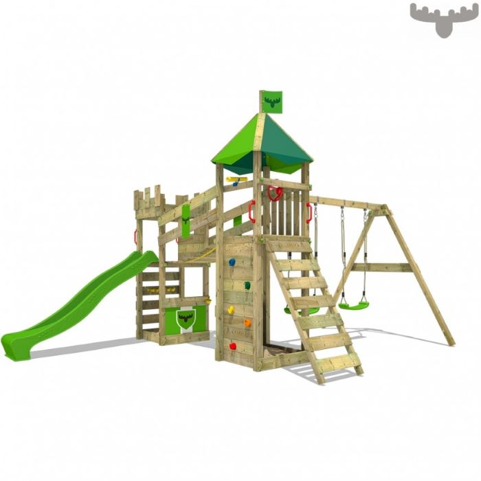 green slide, climbing frame, green swings, castle like, climbing wall