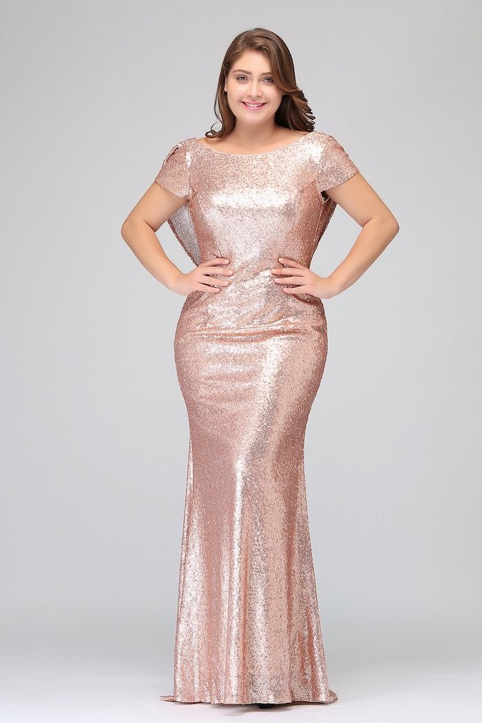 rose gold, bridesmaid dresses, short sleeves, brown wavy hair, hands on hips
