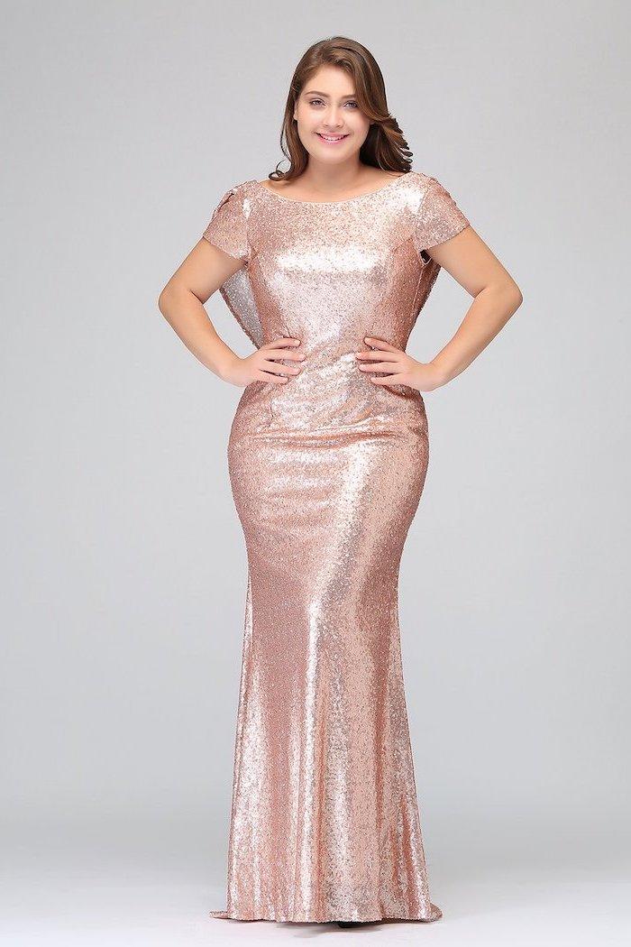 rose gold, bridesmaid dresses, short sleeves, brown wavy hair, hands on hips