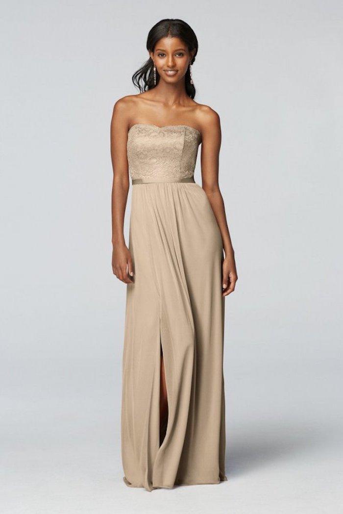unique bridesmaid dresses, strapless lace top, chiffon skirt, black wavy hair