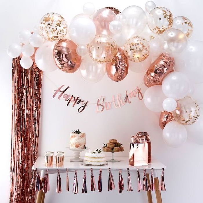 theme party ideas, rose gold garlands, pink and white balloons, full of confetti, cakes and donuts