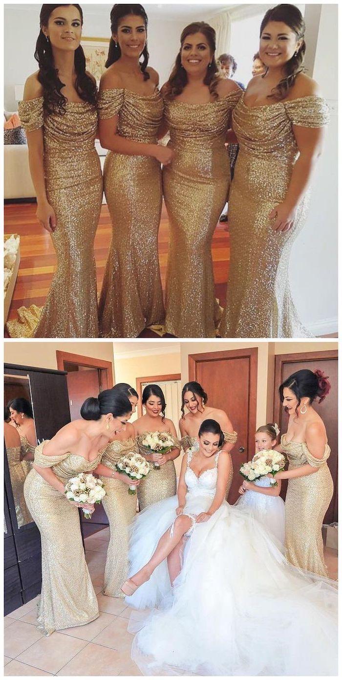four women, off the shoulder, gold sequin, unique bridesmaid dresses