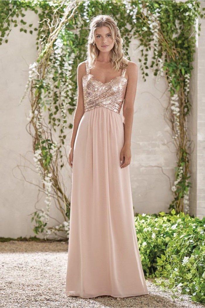 rose gold dress, sequin top, pink chiffon skirt, summer bridesmaid dresses, blonde wavy hair