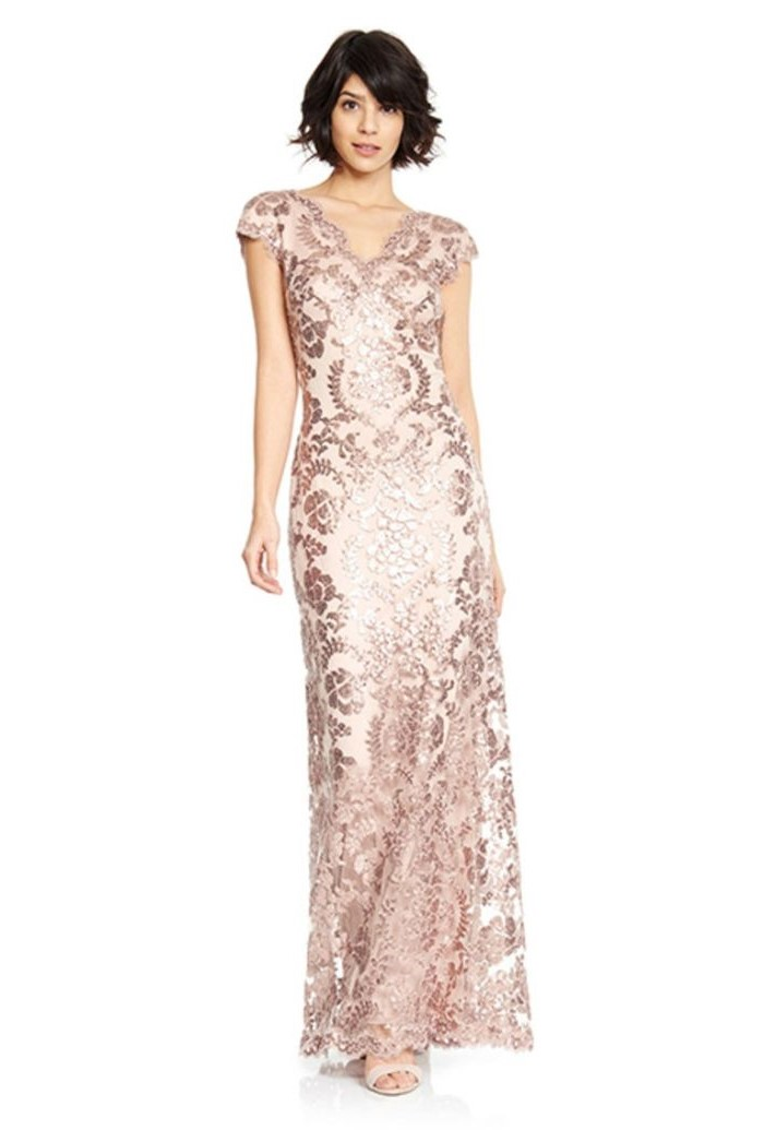 short black hair, rose gold sequins, mother of the bride outfits, v neckline, white background