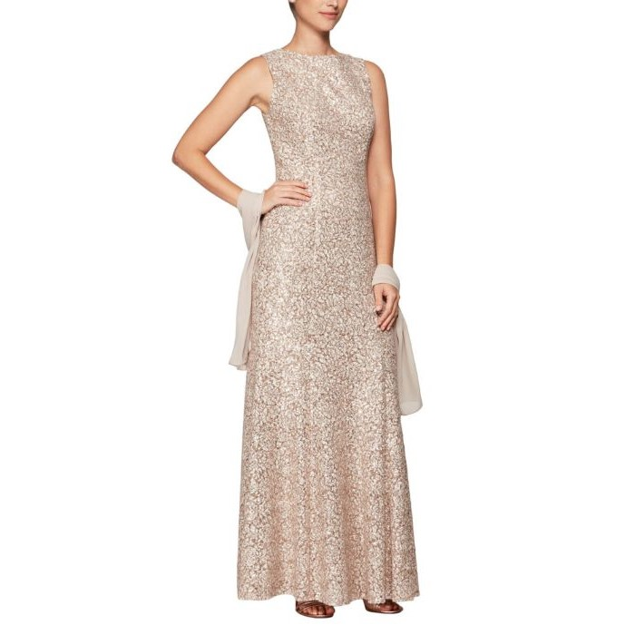 gold sequins, casual mother of the bride dresses, chiffon scarf, white background