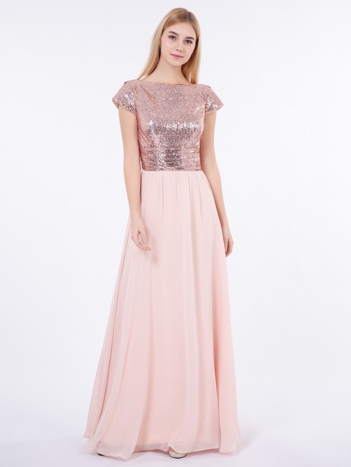 rose gold bridesmaid dresses, sequinned top, pink chiffon skirt, long blonde straight hair