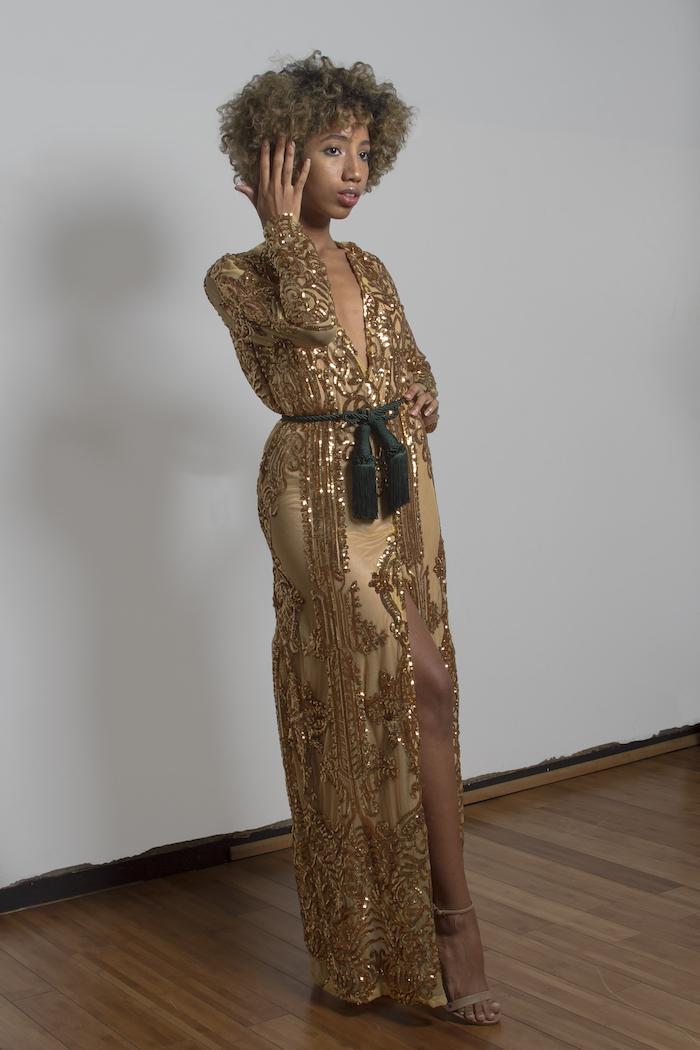 curly short hair, unique bridesmaid dresses, satin gold dress, gold sequins, green satin belt, nude sandals