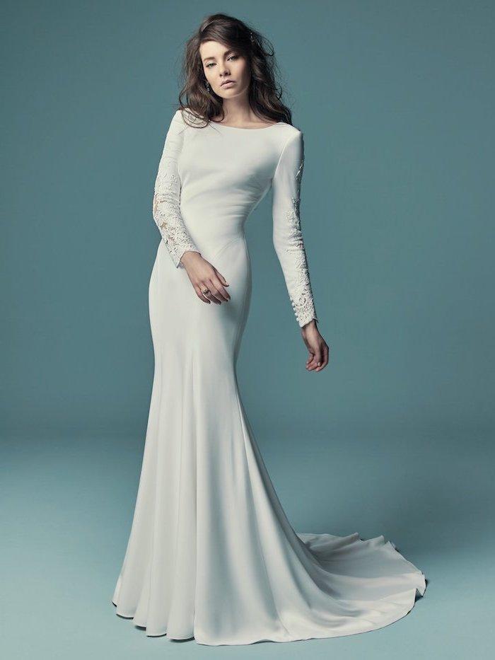 short sleve wedding dress, black wavy long hair, blue background