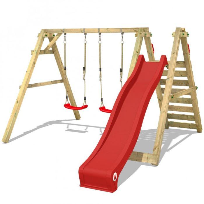 long red slide, two red swings, wooden ladder, wooden swing set