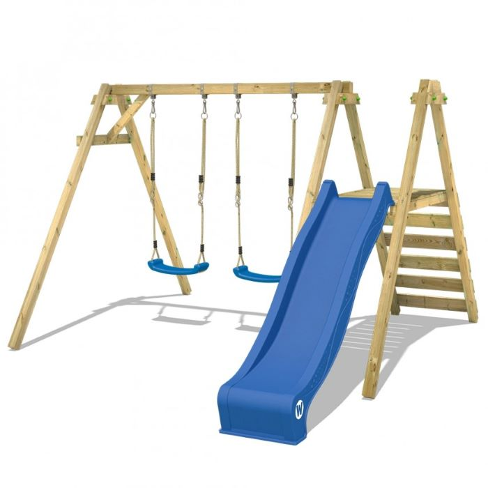two blue swings, blue slide, wooden ladder, wooden swing set, white background