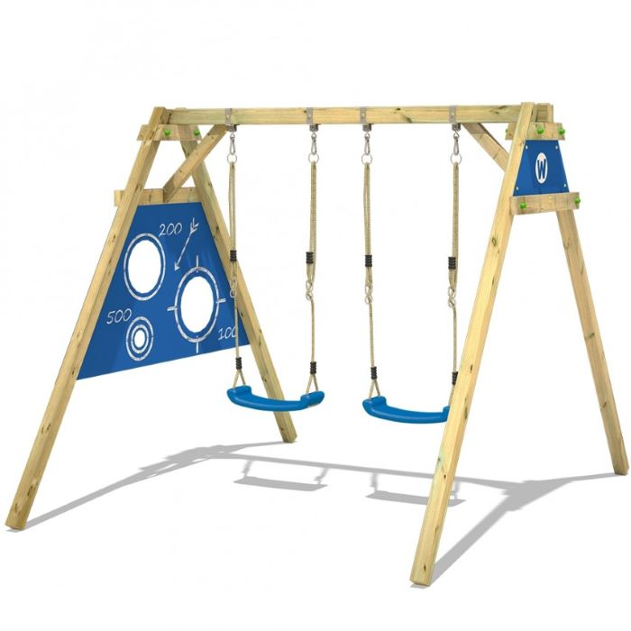 two blue swings, wooden swing set, in blue colours, white background
