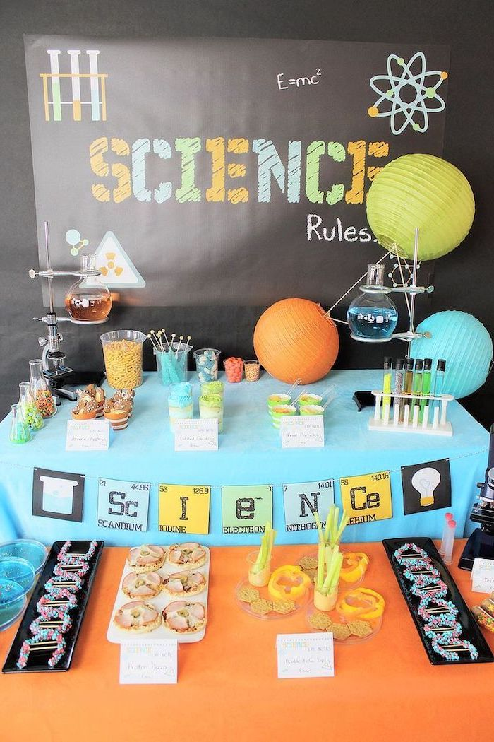 science rules, theme party ideas, blue and orange decor, sweets and cookies, blue and orange juice