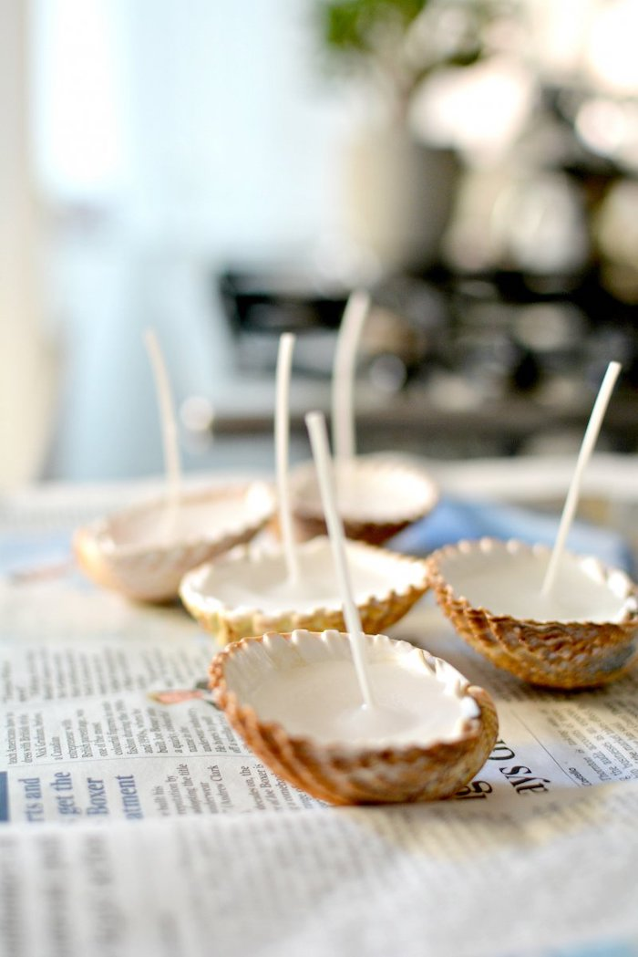 candle wicks, inside seashells, cute diys, on paper, step by step tutorial