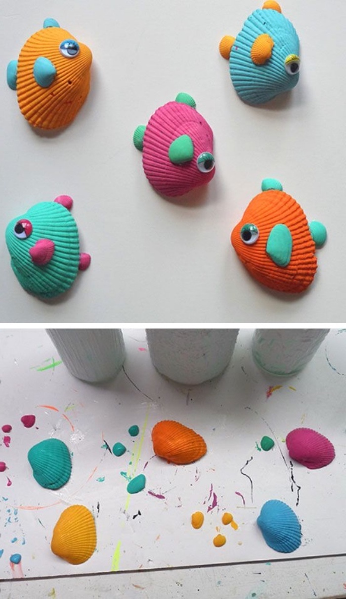 five seashells, painted in pink, orange and blue, green and yellow, diy things to do when bored