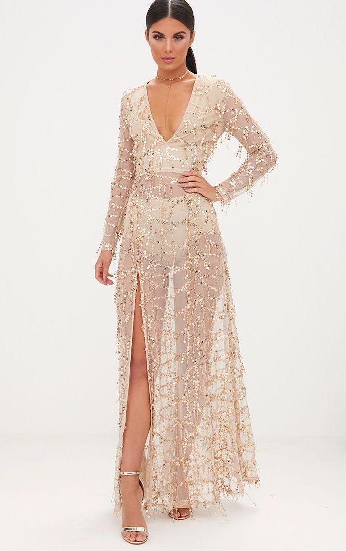 black hair, in a ponytail, unique bridesmaid dresses, see through chiffon dress, gold sequins