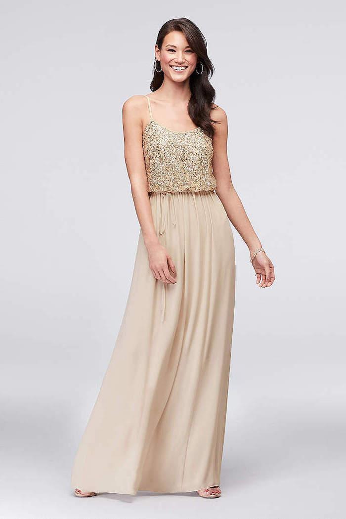 wedding bridesmaid dresses, gold sequin top, chiffon skirt, spaghetti straps, wavy black hair
