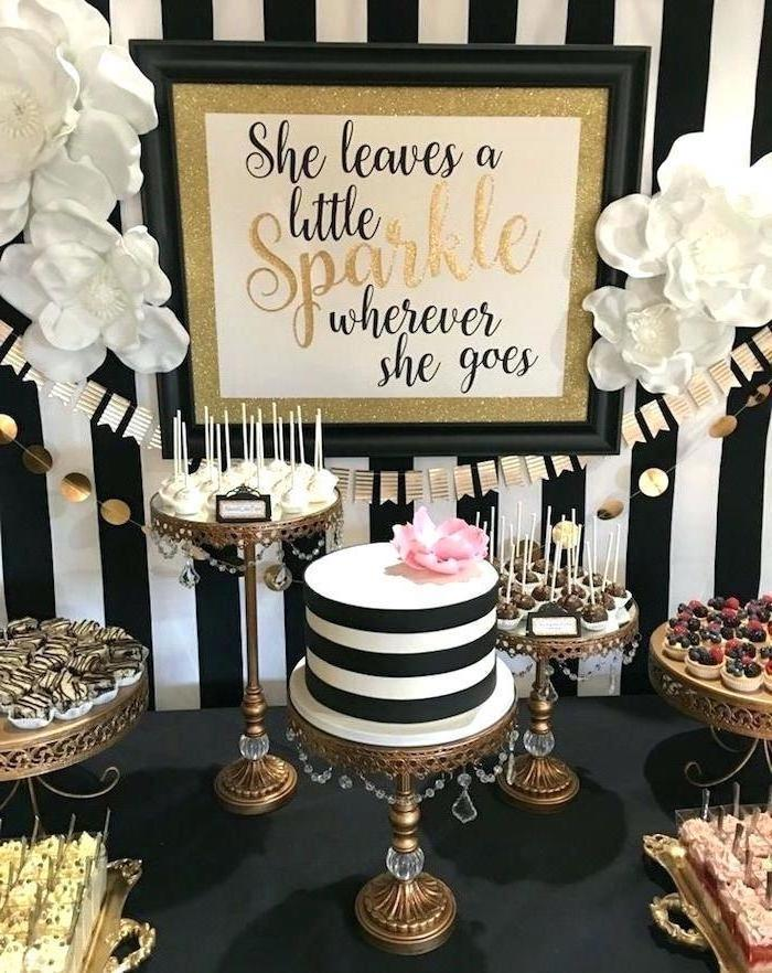 she leaves a little sparkle wherever she goes, theme party ideas, black white and gold, cake stands
