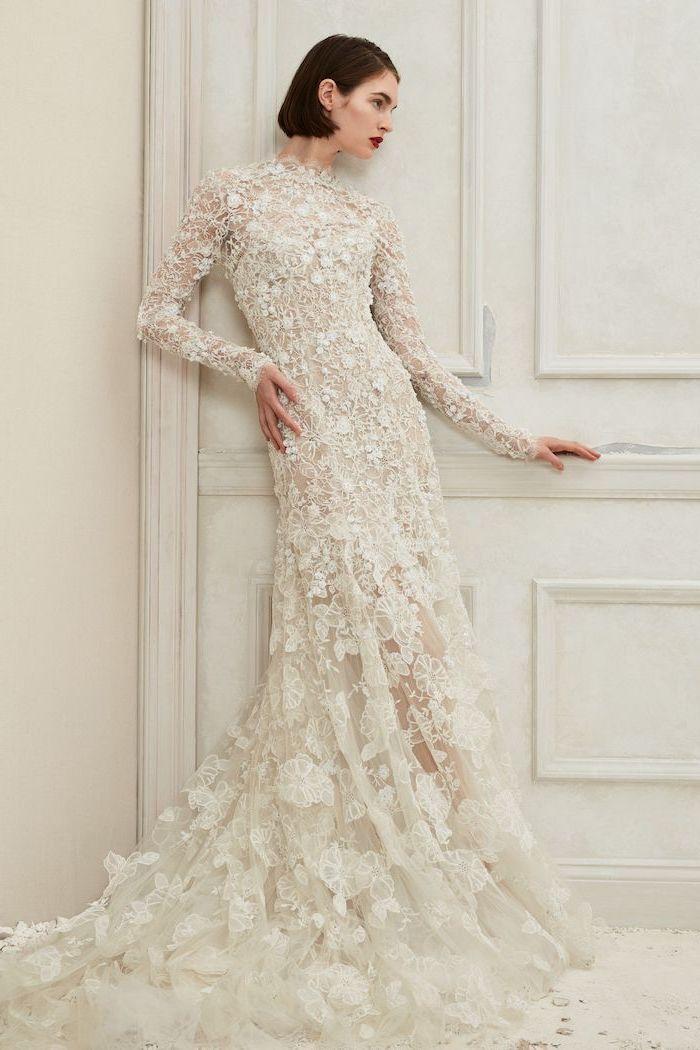 short black hair bob, bell sleeve wedding dress, long lace dress, long train