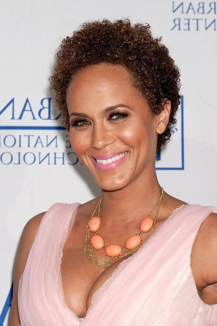 curly hairstyles for black women, pink dress, orange necklace, pixie cut