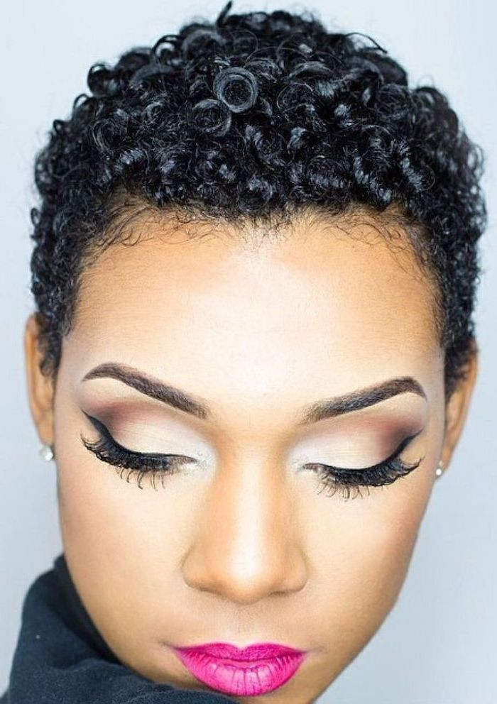 short curly black hair, pink lipstick, natural hairstyles for short hair, white background
