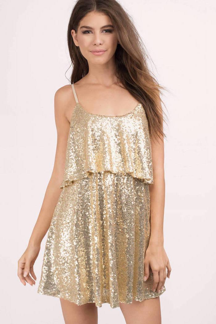 brown wavy hair, short gold sequin dress, spaghetti straps, wedding bridesmaid dresses