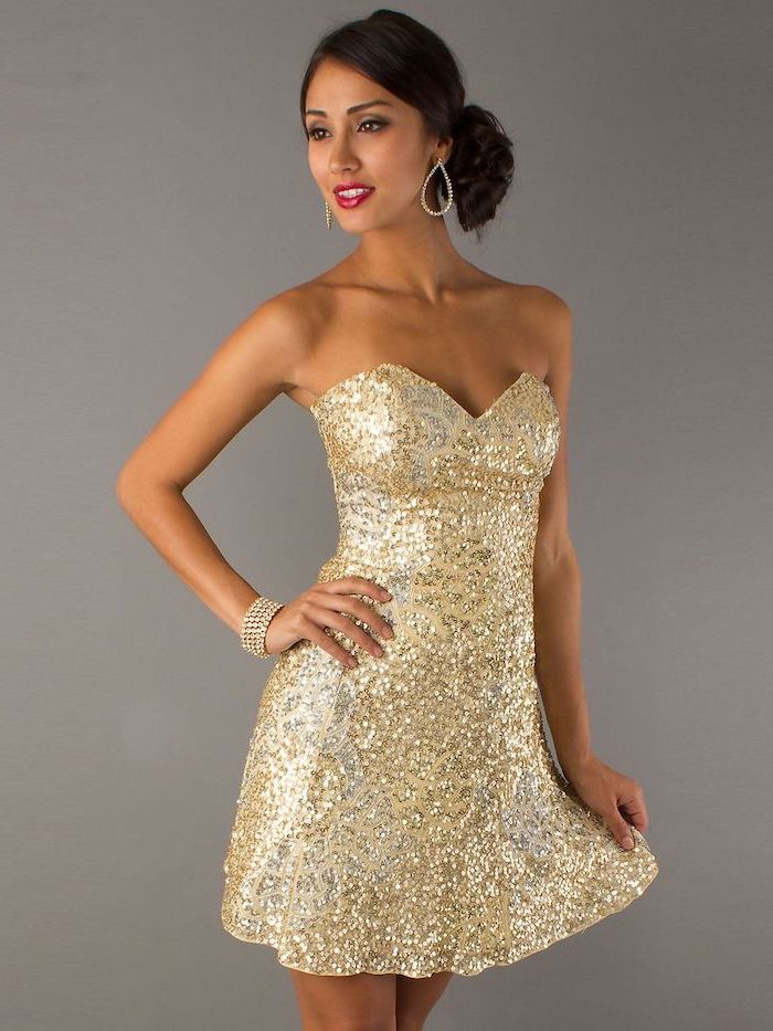 short strapless, gold sequin dress, wedding bridesmaid dresses, sweetheart neckline, brown hair, in a low updo