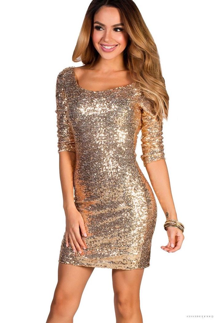 rose gold, sequin dress, brown wavy hair, quarter sleeves, wedding bridesmaid dresses