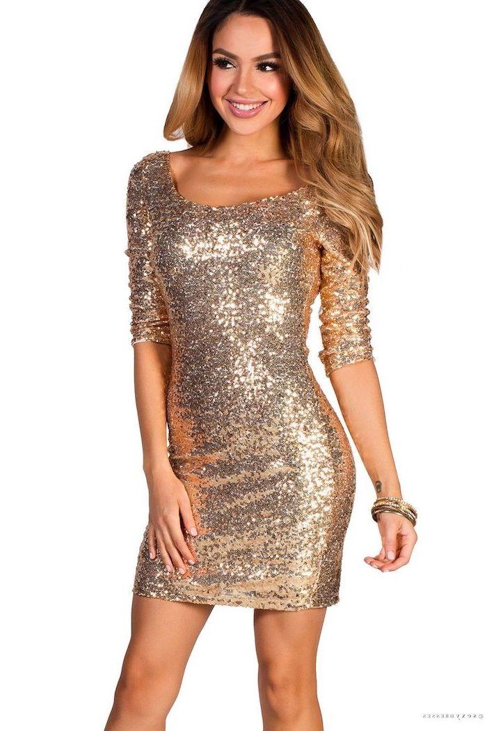 rose gold, sequin dress, brown wavy hair, quarter sleeves, wedding bridesmaid dresses