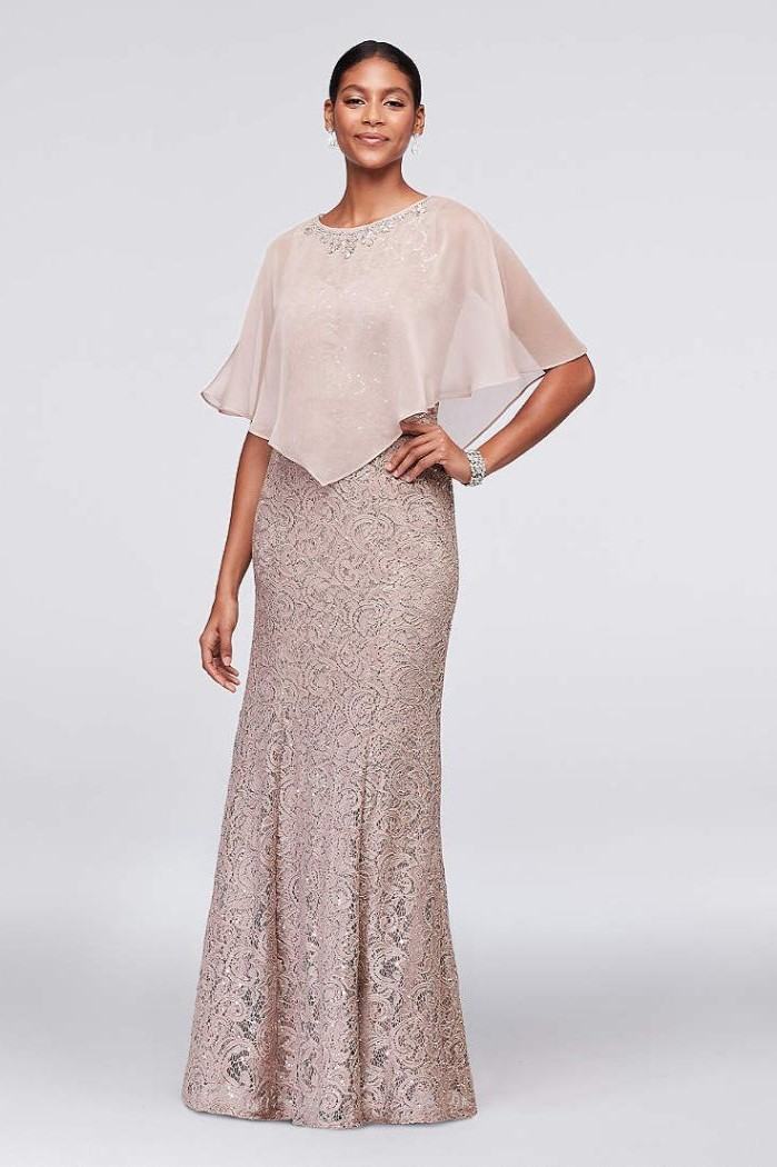 casual mother of the bride dresses, chiffon top, champagne lace, black hair, in a low updo